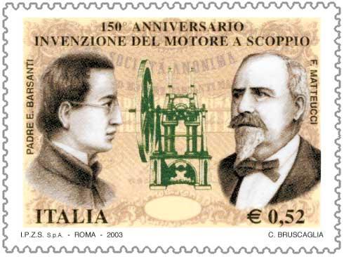 Francobollo celebrativo per il 150° anniversario dell'invenzione del motore a scoppio